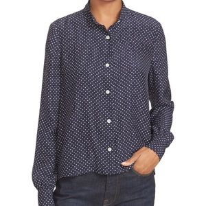 FRAME cropped silhouette polka dot silk blouse, M